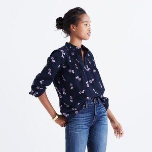 Madewell Pintuck Popover Shirt-Pansy Bouguet